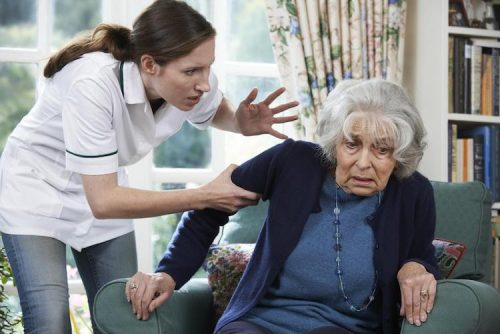 Nursing home staff member inappropriately yelling at elderly patient