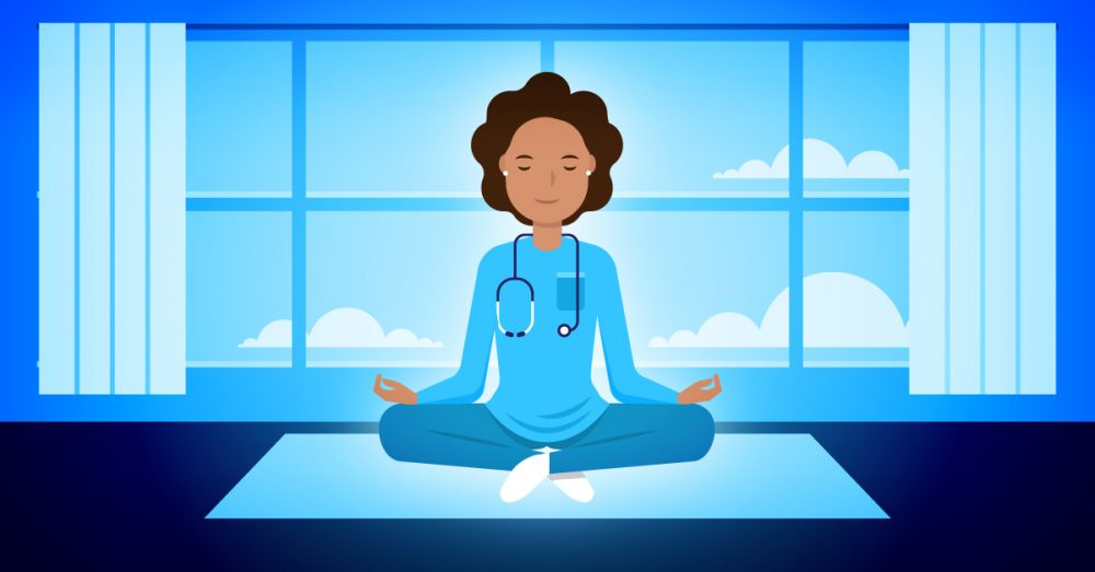 Nurse leader performing her meditation exercise to help her with stress management.