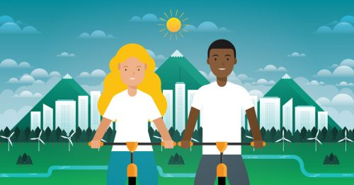 An illustration of two smiling bike riders in front of a wind farm.