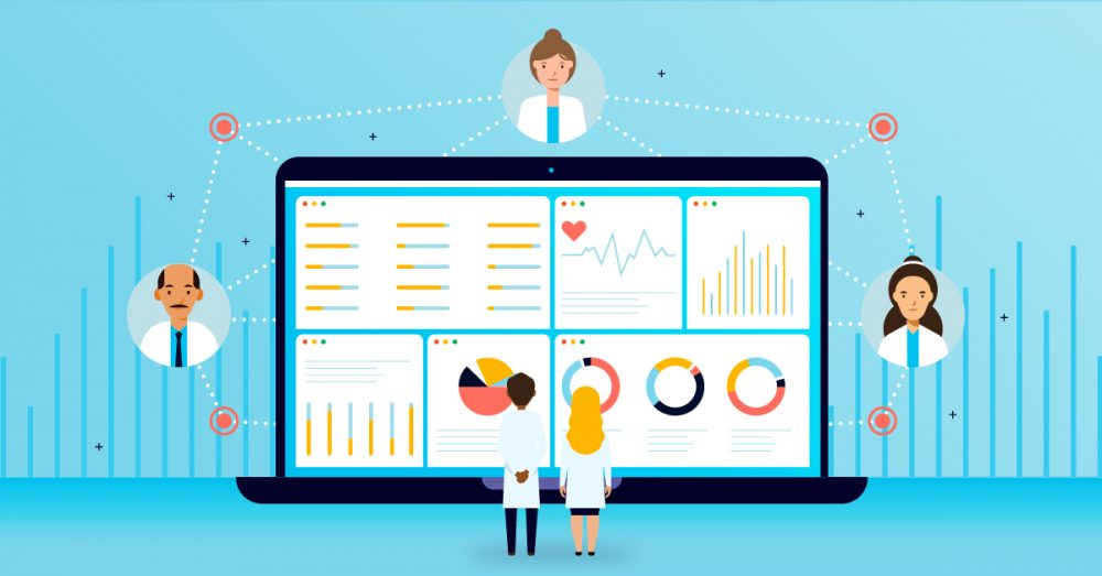 Two healthcare administrators survey a screen showing graphs and tables.