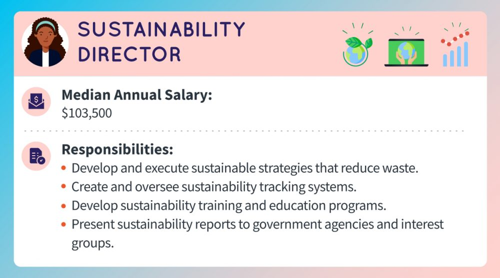 A sustainability director's median annual salary is about $103,500. Responsibilities include developing and executing sustainable strategies that reduce company waste, creating and overseeing sustainability tracking systems, developing sustainability training and education programs, and presenting sustainability reports to government agencies and interest groups.