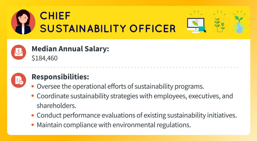 A chief sustainability officer's median annual salary is about $184,460. Responsibilities include overseeing sustainability program operations; coordinating sustainability strategies with employees, executives, and shareholders; conducting performance evaluations of existing sustainability initiatives; maintaining compliance with environmental regulations.
