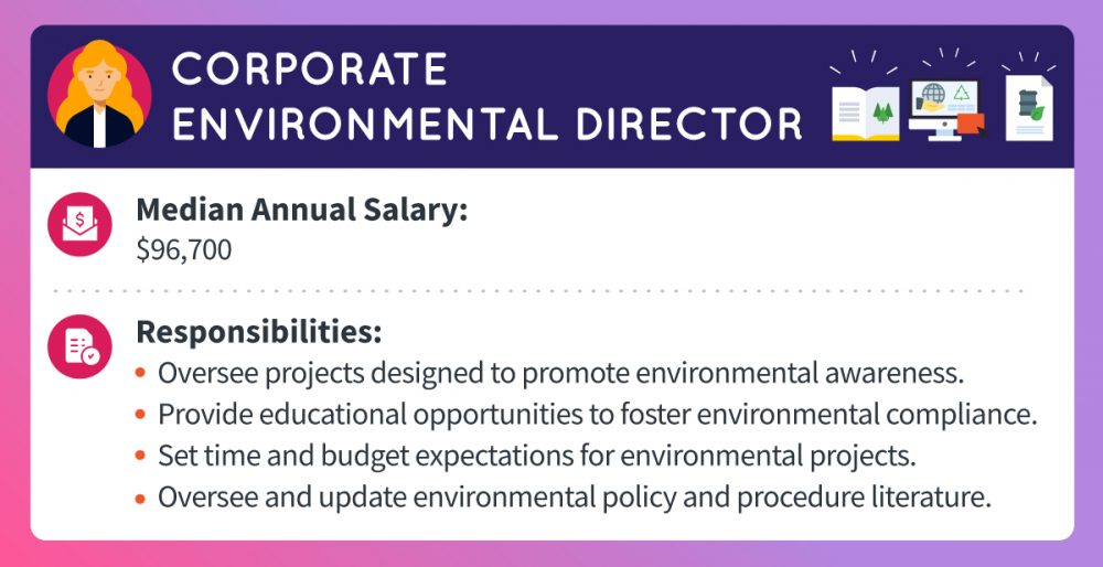 A corporate environmental director's median annual salary is about $96,700. Responsibilities include overseeing projects designed to promote environmental awareness, providing educational opportunities to foster environmental compliance, setting time and budget expectations for environmental projects, and overseeing and updating environmental policy and procedure literature.