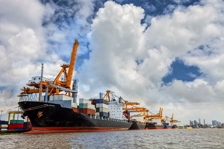Container ships engage in international trade.
