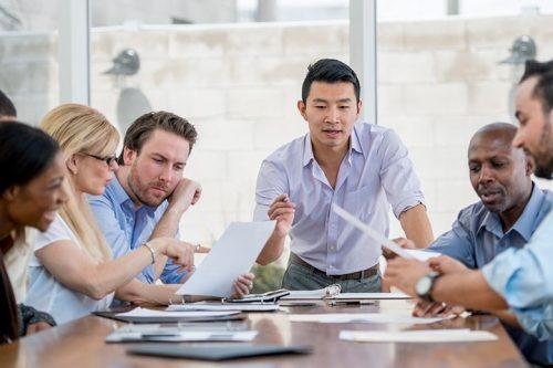 Diverse team in boardroom
