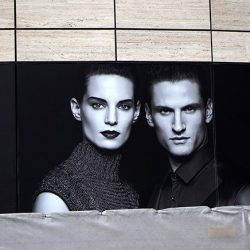 Black and White Picture of Male and Female Models