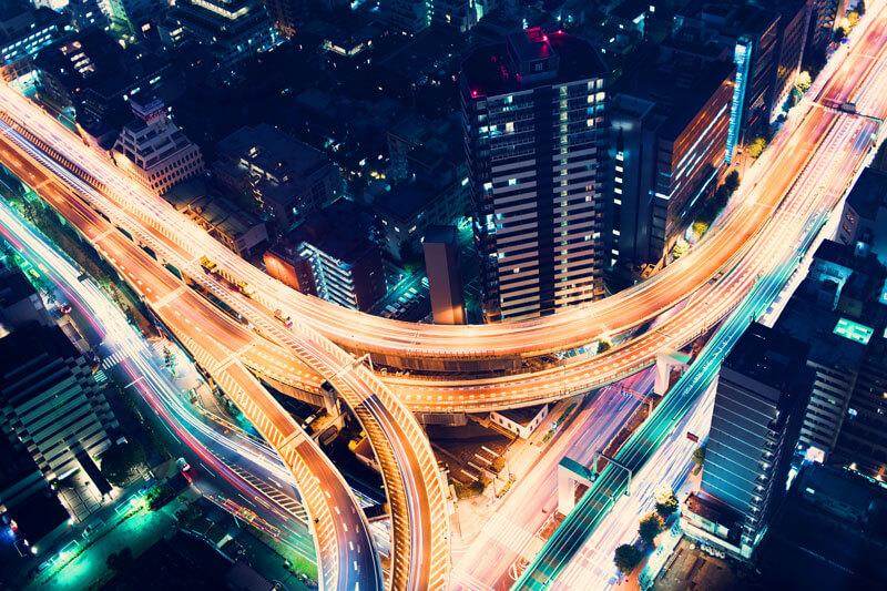 Highway transportation at night