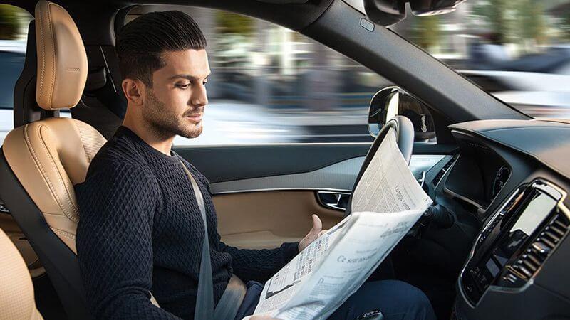 Male in autonomous vehicle
