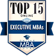 Top 15 Online Executive MBAs badge