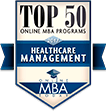 Top 50 Online MBA Programs Healthcare Management badge