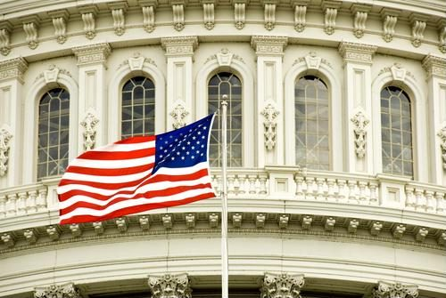 American flag in front of U.S. Capitol