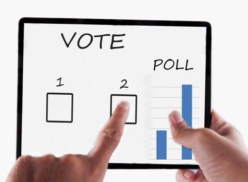Hand interacting with poll on computer tablet