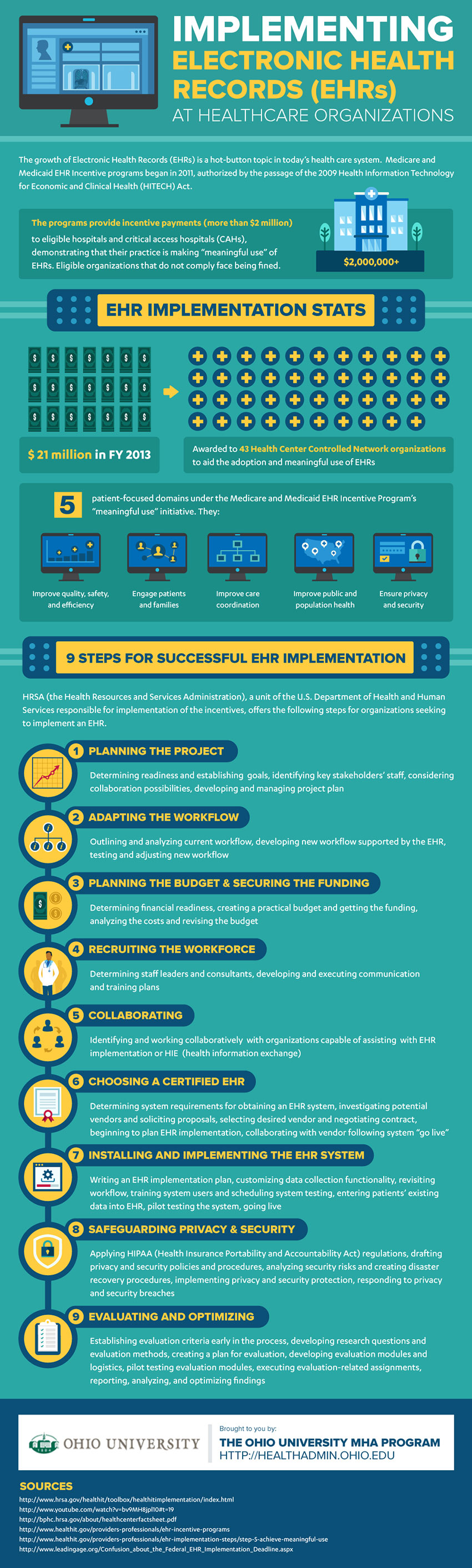 Implementing Electronic Health Records at Healthcare Organizations infographic