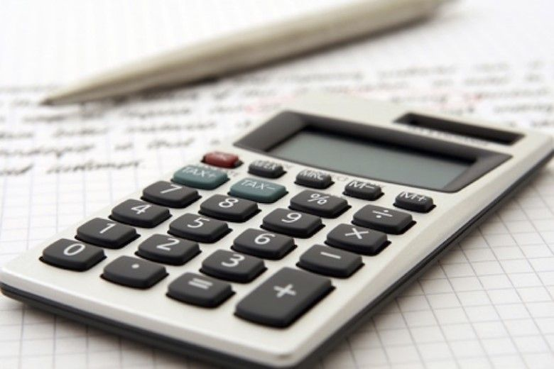 a calculator on a spreadsheet