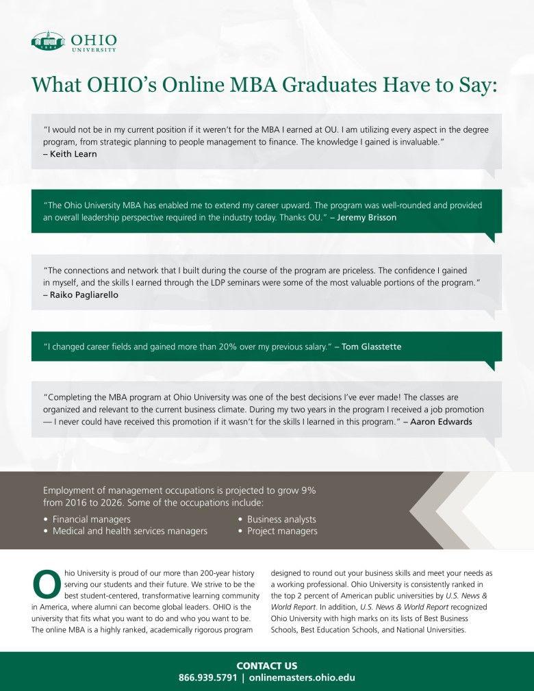 2018 MBA Grad Outcome Testimonials