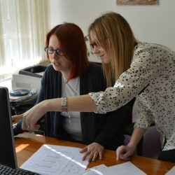 Women working at office desk