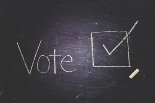 Chalkboard with word 'vote' and check symbol written