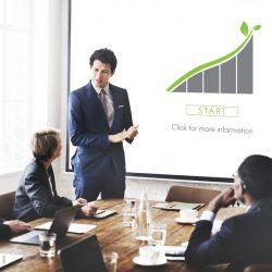 An executive giving a presentation on CSR.