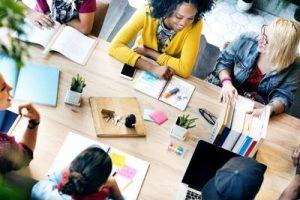 A nonprofit PR team brainstorming ideas.