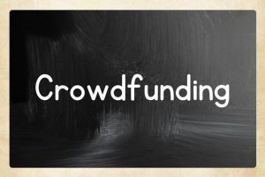 'Crowdfunding' on animated chalkboard