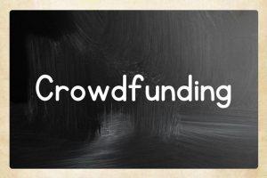 'Crowdfunding' on animated chalkboard