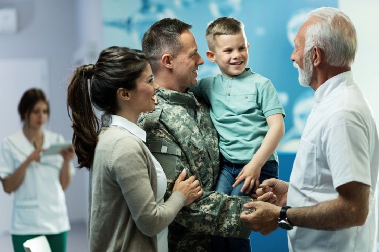 a veteran with his family