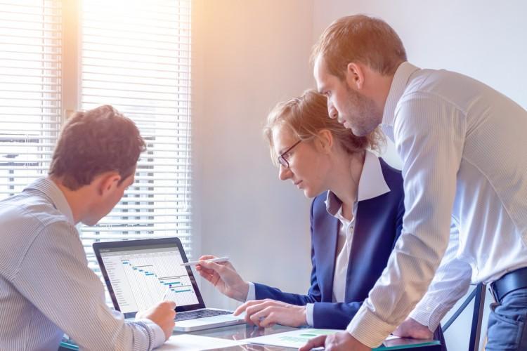 A nonprofit management team analyzing data.