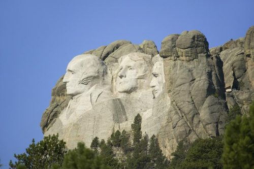 Profile view of Mount Rushmore