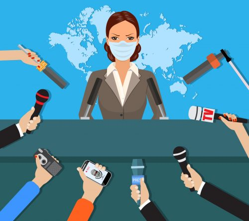 Female with medical mask speaking with press with hands of journalists with microphones. vector illustration in flat style on blue background with world map
