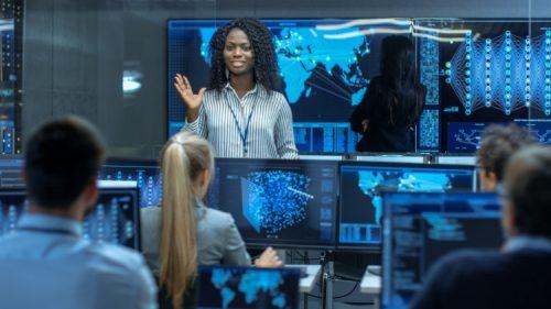 A data analytics professional briefs her team of analysts.