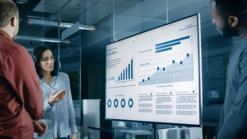 Female business analyst leads a team discussion of several data visualizations displayed on a large wall-mounted monitor.