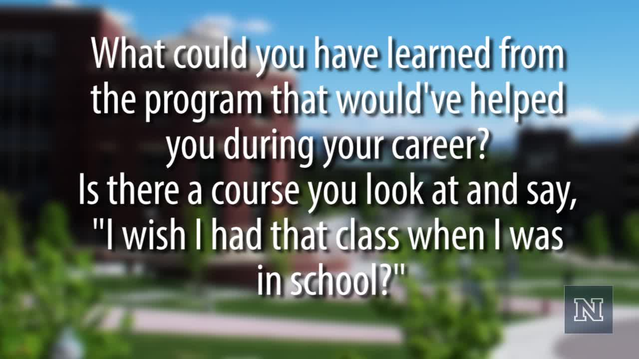 "Text on image: ""What could you have learned from the program that would've helped you during your career?"""