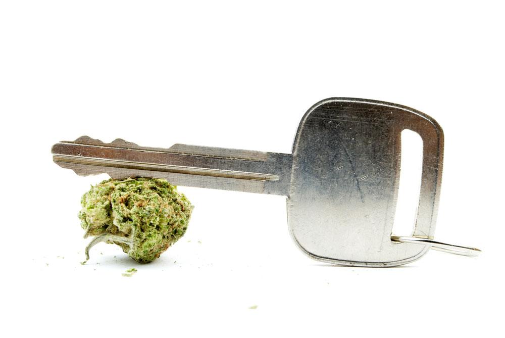 A marijuana bud and a key