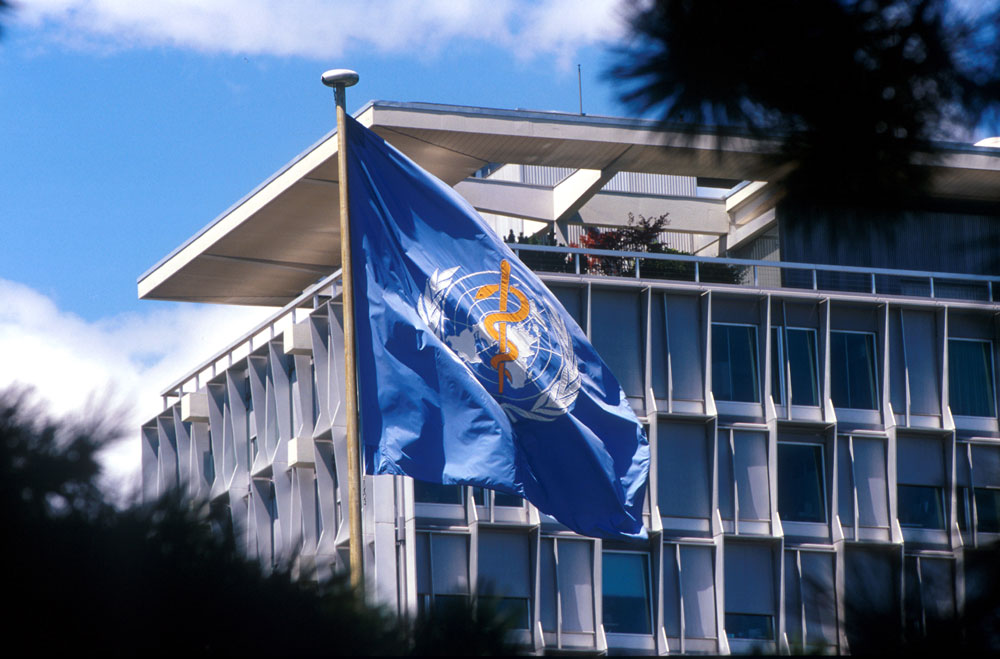Picture of the World Health Organization flag in front of a building