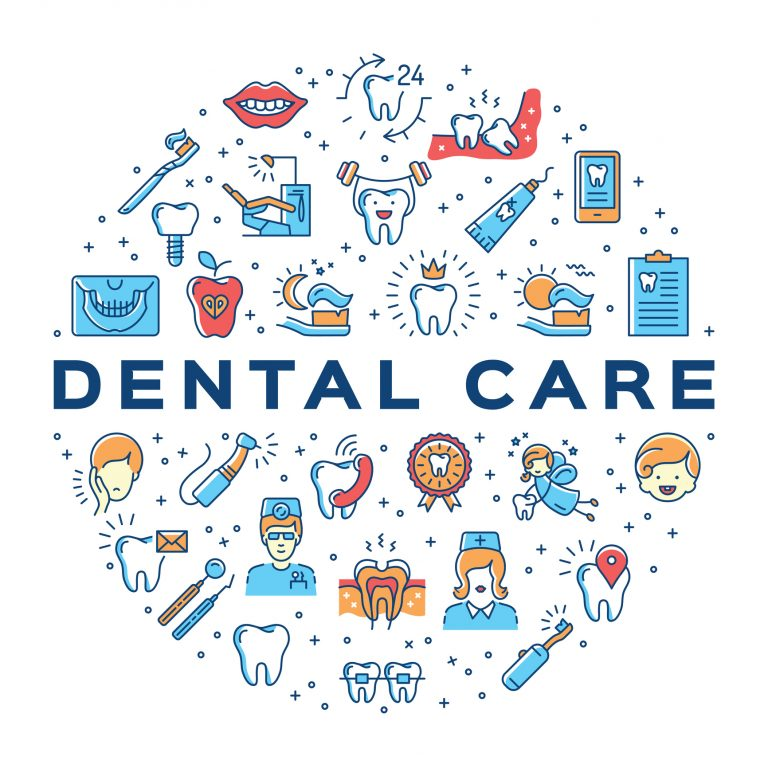 Dental care circle infographics Stomatology icon. Colorful dentistry thin line art icons. Symbols teeth, dentist, smile, caries, implant, office. Vector outline elements