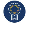 A blue circle with an award style ribbon inside. This represents our Council on Social Work Education (CSWE) Accreditation