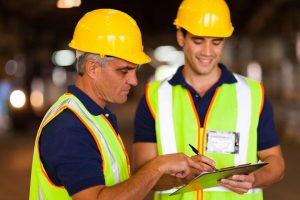 Environmental health technicians compare notes