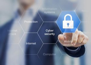Cybersecurity abstract with image of lock and transparent background