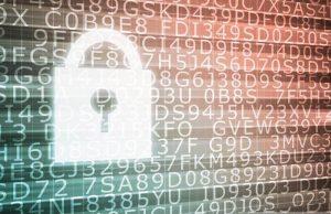 Digital lock on binary code background.
