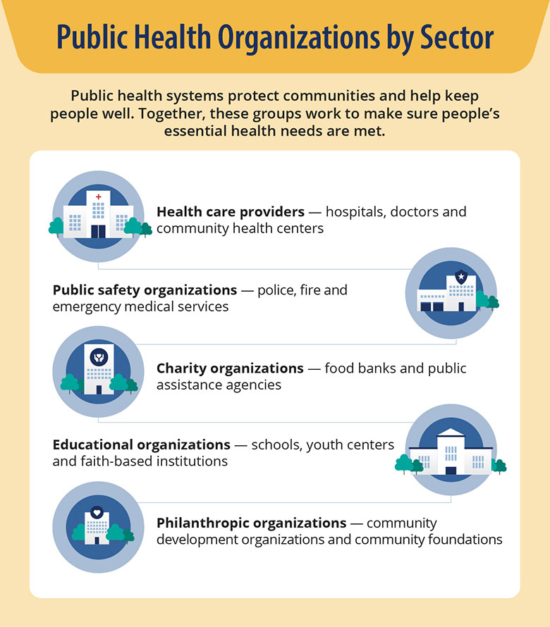 Examples of public health organizations by sector, include health care providers, public safety organizations, charity organizations, educational organizations, and philanthropic organizations.