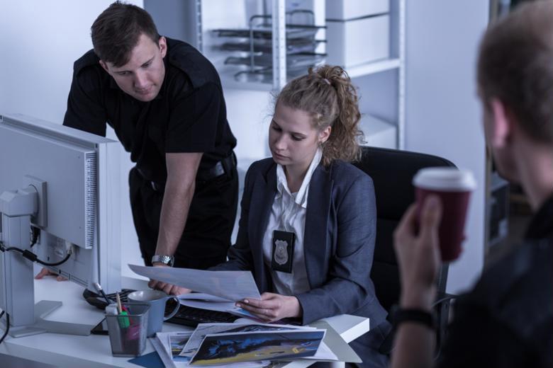Digital forensics analysts study evidence.