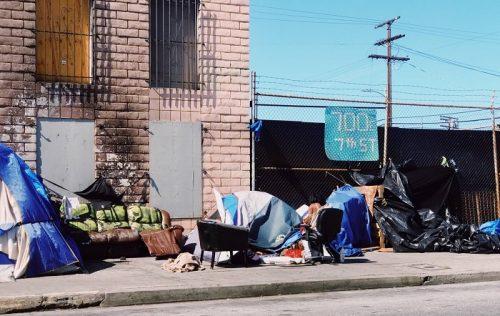 "Homeless populations often inhabit ""tent cities."""