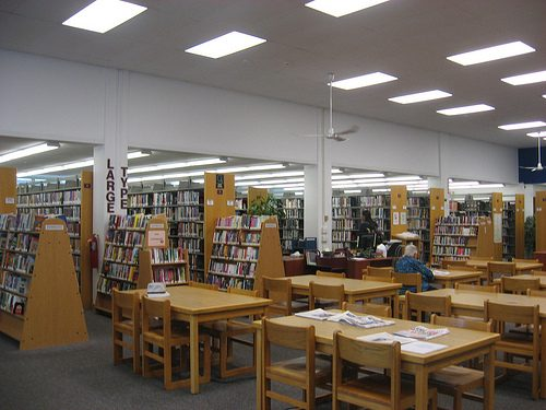 Patrons using the collection at a public library