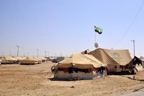 A refugee camp.