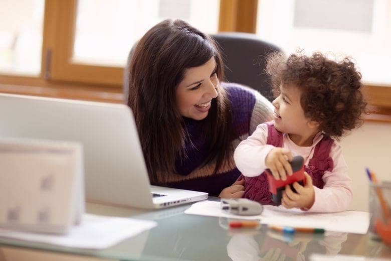 Mother working during MBA with daughter