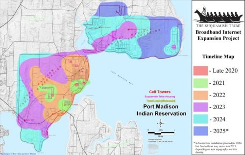 A planning map of the Suquamish Tribe Broadband Internet Expansion Project