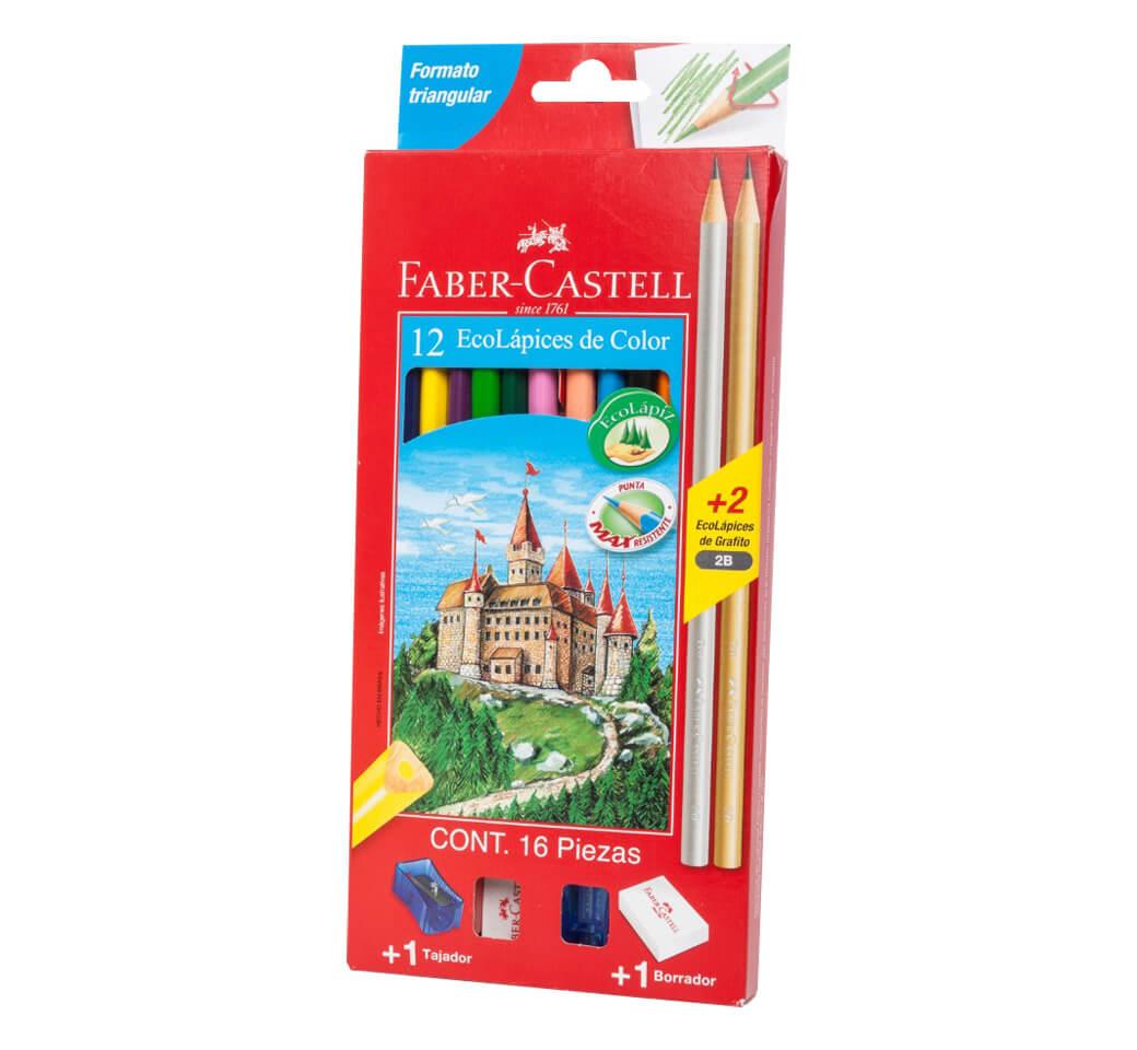 Colores Triangulares x 12 Largos + Tajador + 2 Lápiz Faber Castell
