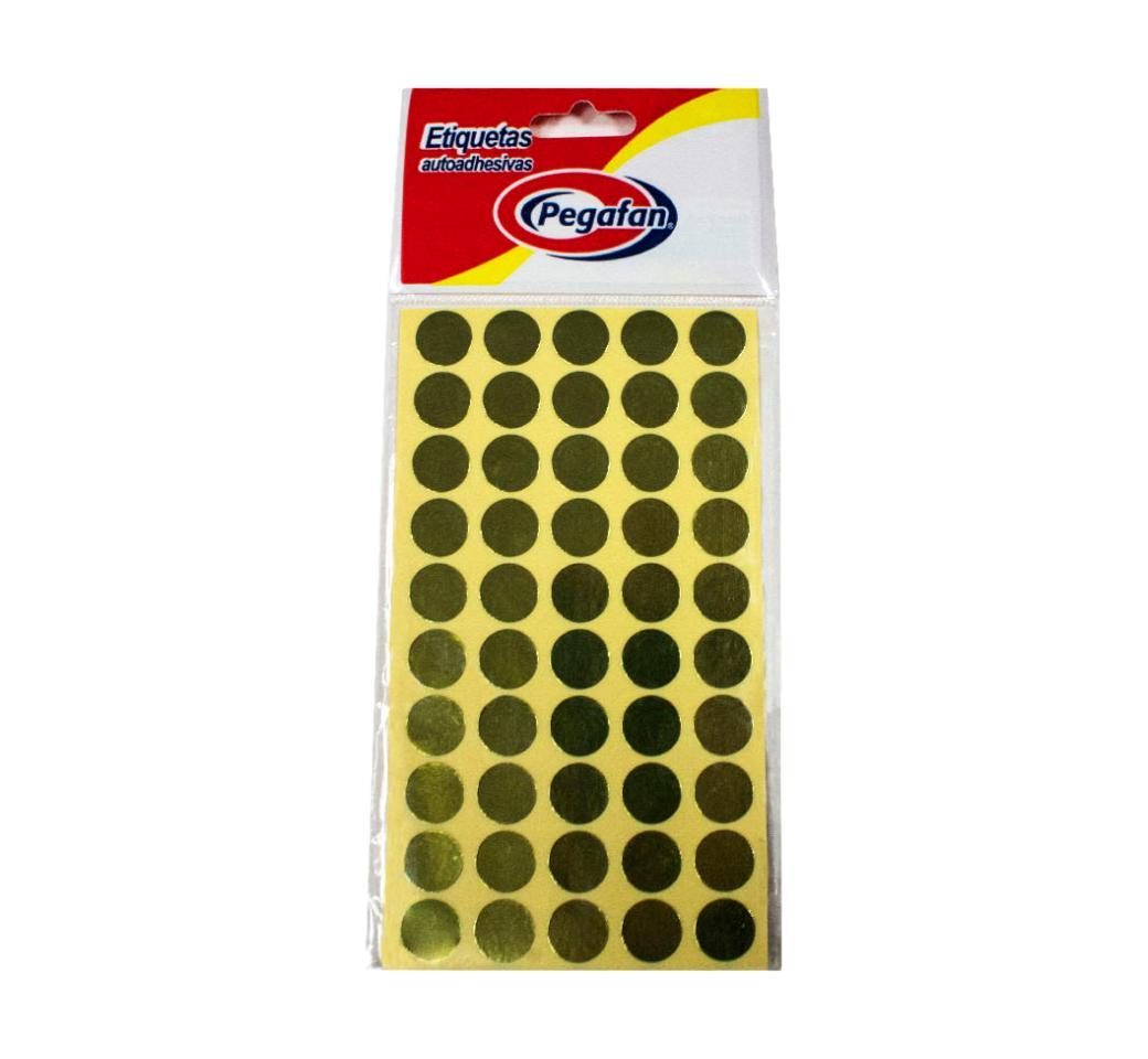 Etiquetas Circular x 500 unid. Dorado Pegafan