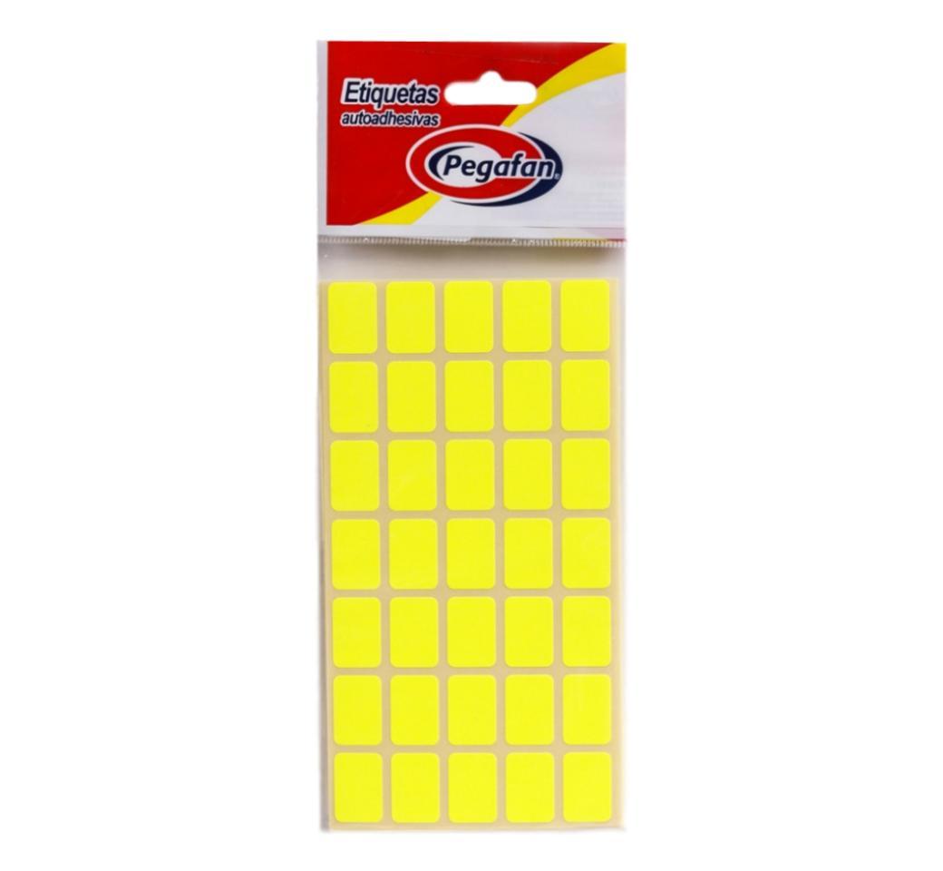 Etiquetas 19 x 13 mm  Flourescente Amarilllo x 500 unid. Pegafan
