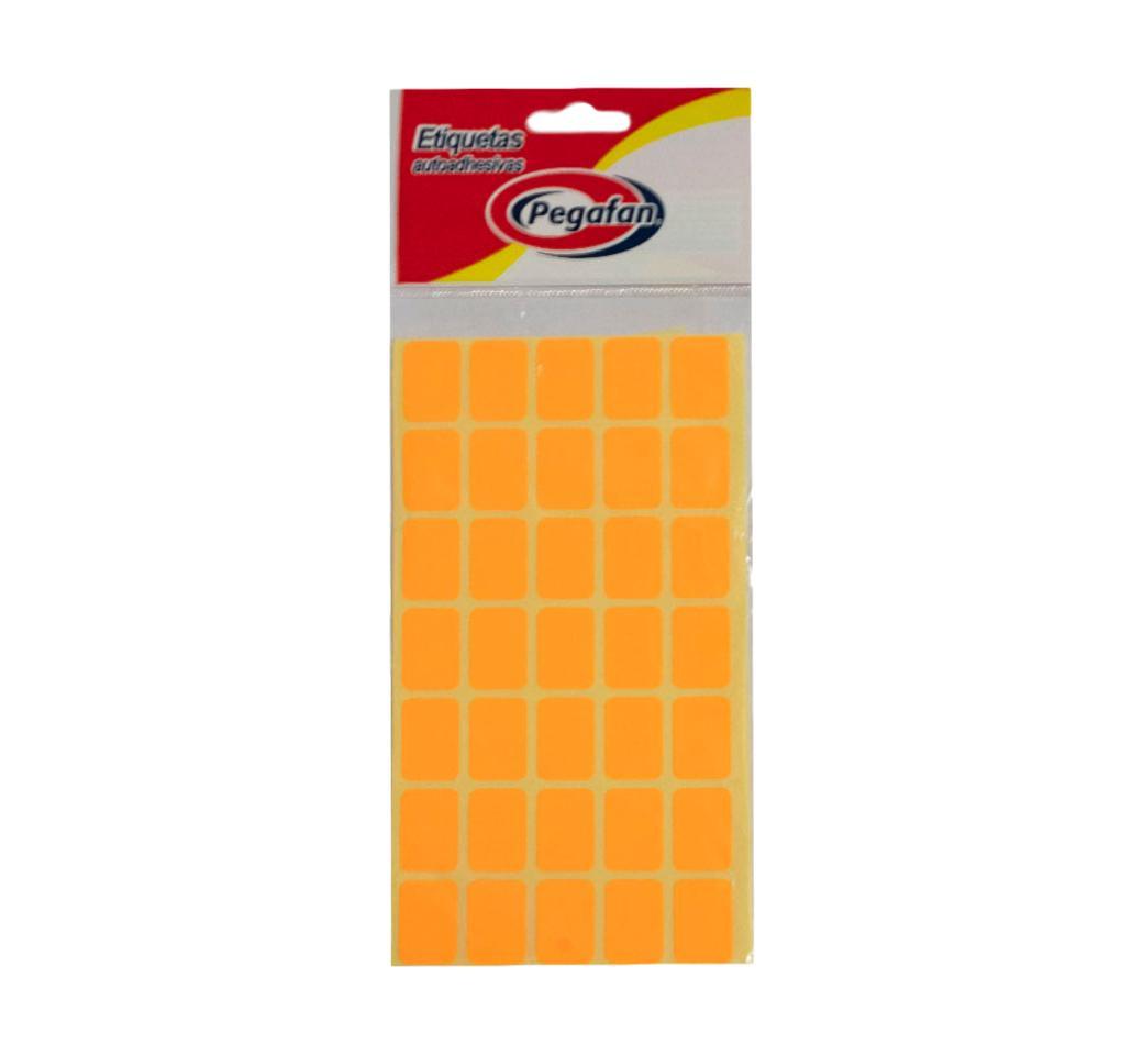 Etiquetas 19 x 13 mm Flourescente Naranja  x 500 unid. Pegafan